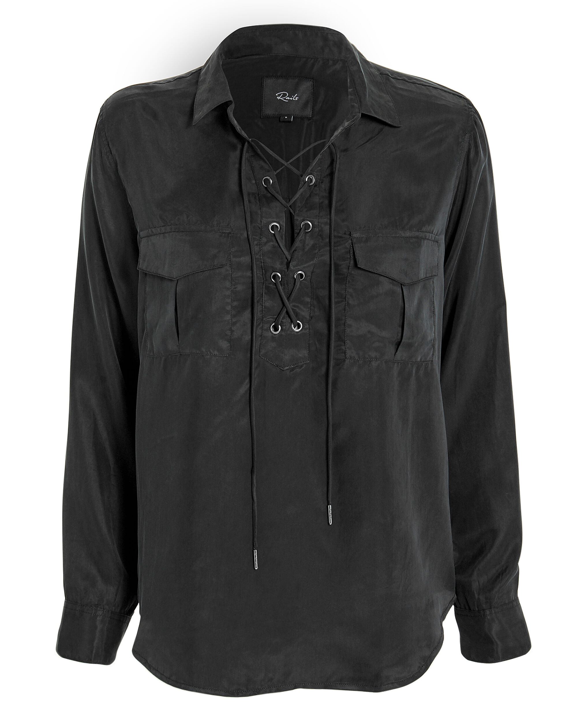 Bailey Lace-Up Blouse, BLACK, hi-res