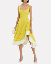 Chartreuse Jersey Flamenco Dress, CHARTREUSE/WHITE, hi-res
