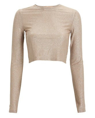 Knit Lurex Crop Top, CHAMPAGNE, hi-res