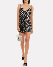 Mochi Shirred Mini Dress, BLACK/MIXED PRINT, hi-res