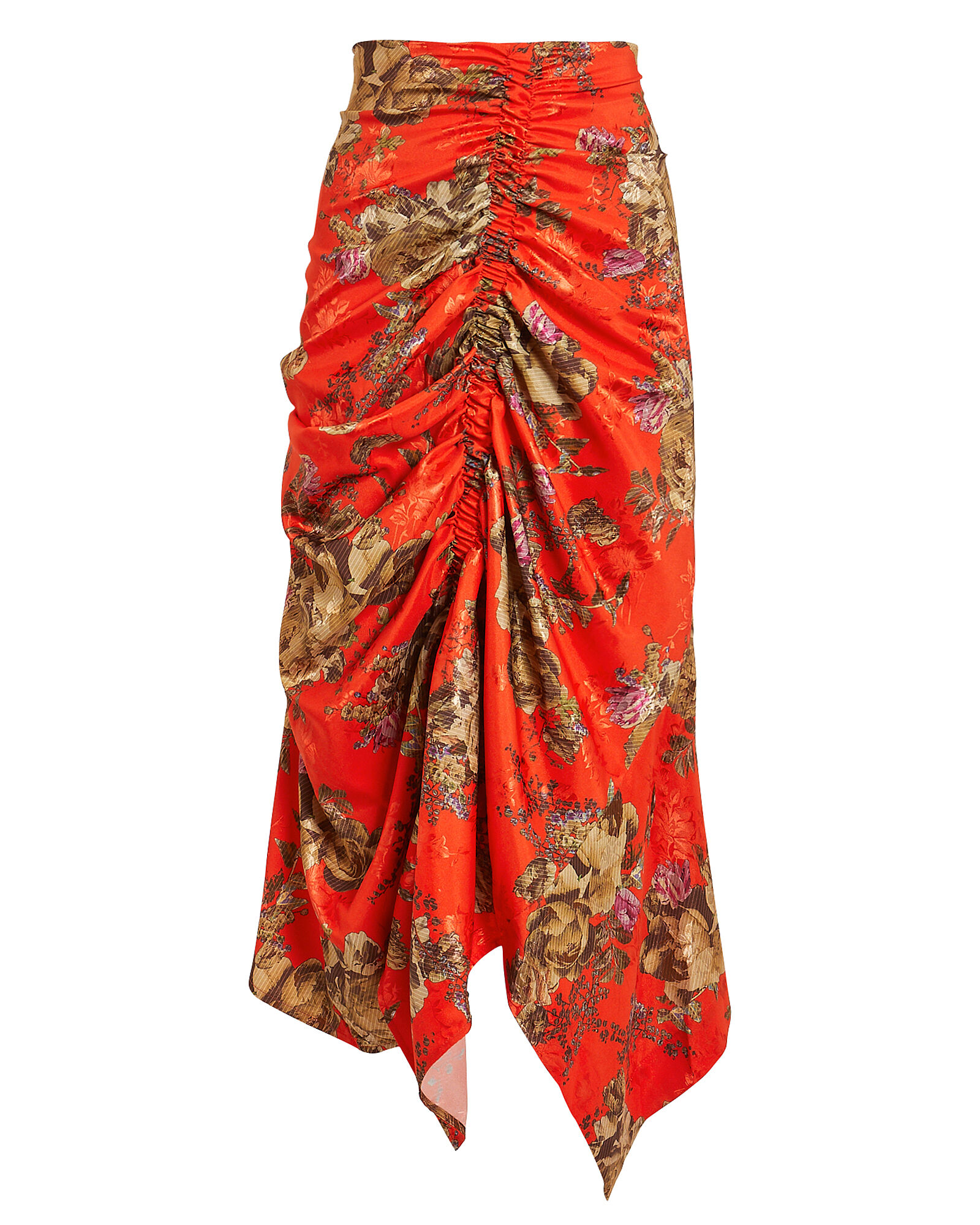 Quienna Cinched Floral Midi Skirt, RED, hi-res