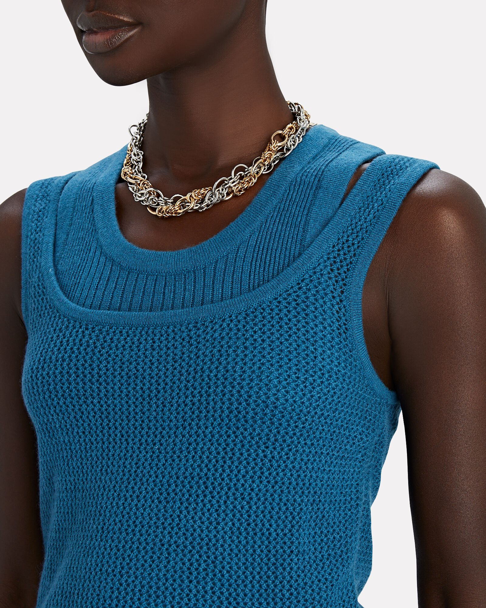 Hayes Cashmere Layered Knit Tank Top, BLUE, hi-res