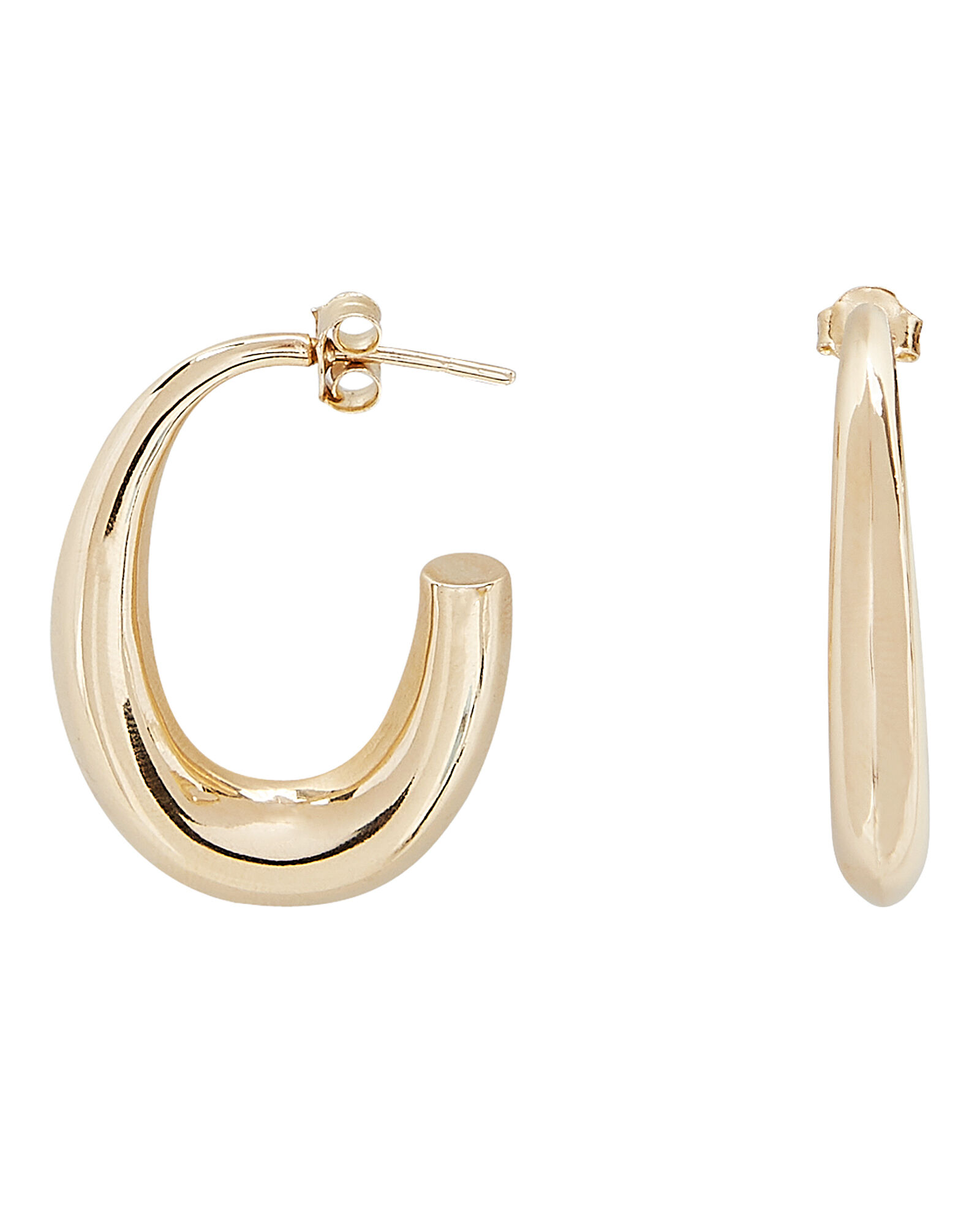 Oval Tapered Hoop Earrings, GOLD, hi-res