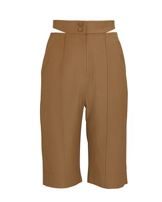Deconstructed Tropical Wool Shorts, LIGHT BROWN, hi-res