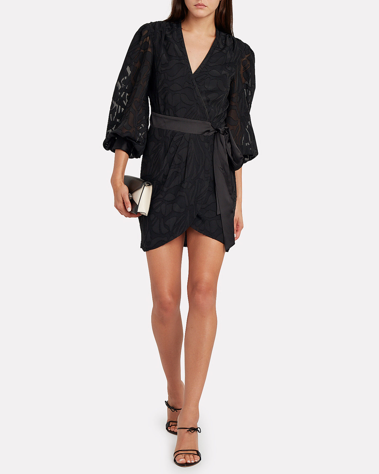 Fil Coupé Wrap Mini Dress, BLACK, hi-res
