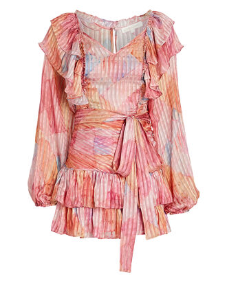 Moxie Pleated Silk Dress, MULTI, hi-res