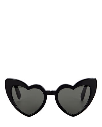Loulou Heart-Shaped Sunglasses, BLACK, hi-res