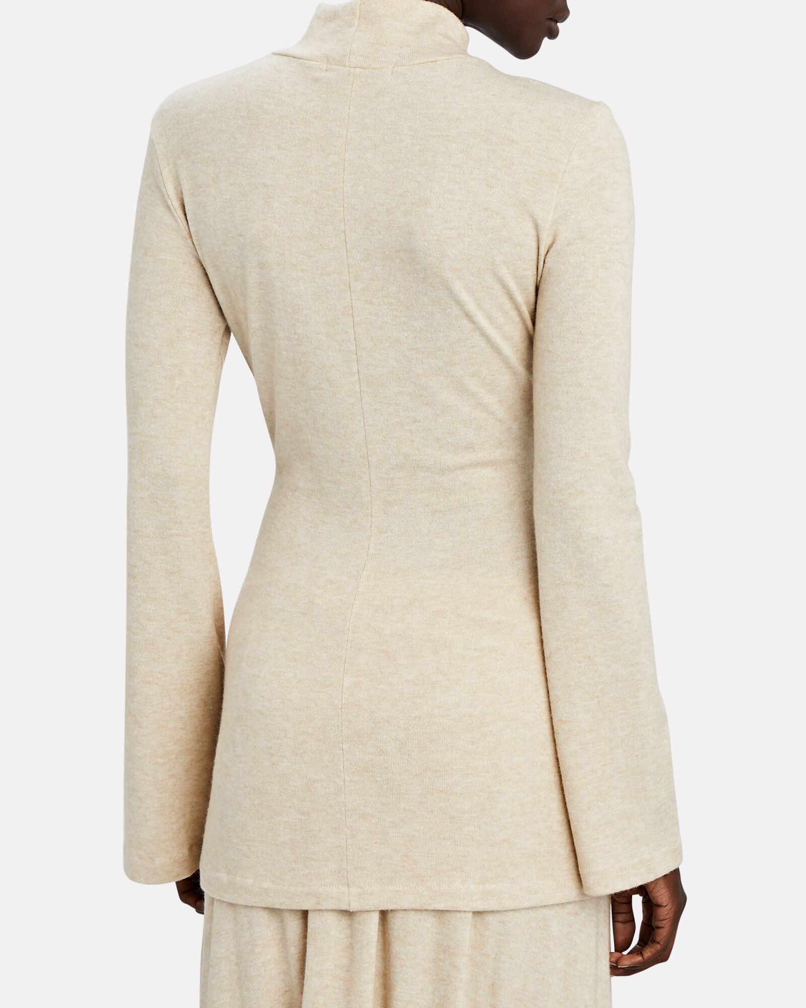 Sylvia Ruched Turtleneck Top, IVORY, hi-res