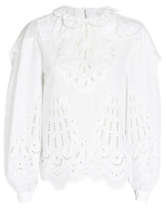 Cotton Poplin Eyelet Blouse, WHITE, hi-res