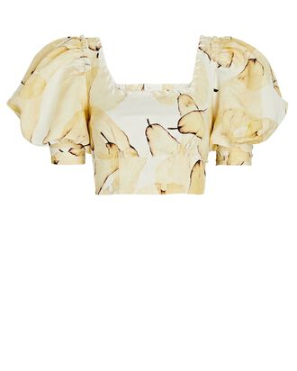 Unlace Puff Sleeve Crop Top, MULTI, hi-res
