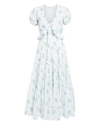 Carlton Floral Cotton Dress, BLUE/WHITE FLORAL, hi-res