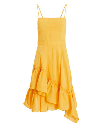 Asymmetric Ruffle Cotton Dress, YELLOW, hi-res