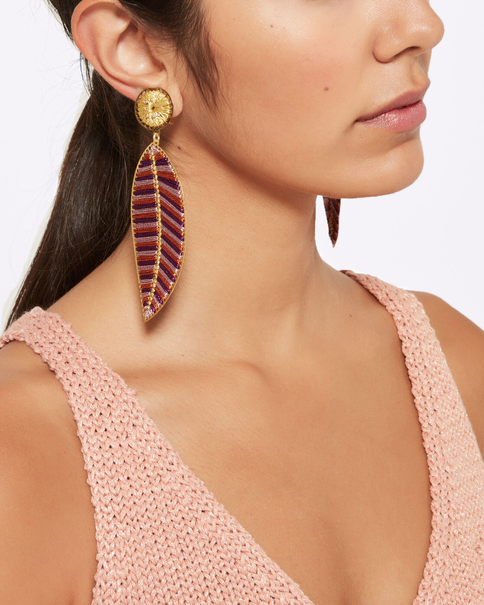 Hoja Del Ocaso Earrings, PURPLE-DRK, hi-res