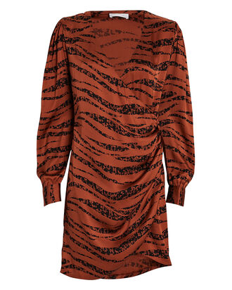 Penelope Zebra-Printed Silk Dress, RUST/ZEBRA, hi-res