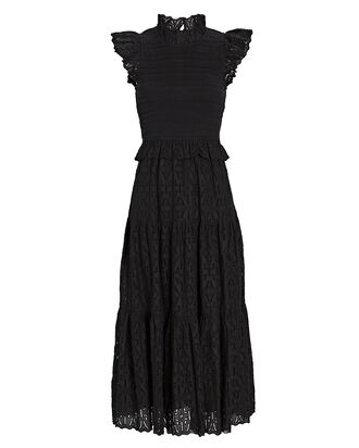 Ingrid Smocked Cotton Midi Dress, BLACK, hi-res