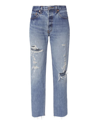 Relaxed Destroyed High-Rise Jeans, DENIM, hi-res