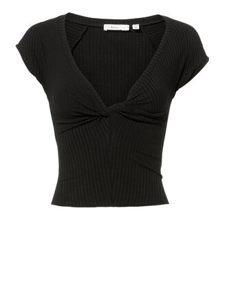 Sabina Twist Front Black Crop Top, BLACK, hi-res