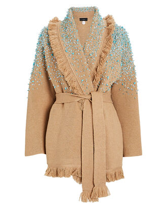 Rainy Day Embellished Wrap Cardigan, BROWN, hi-res