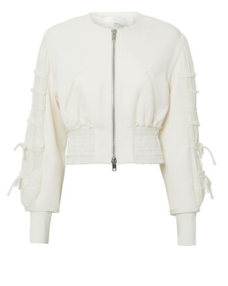Gathered-Sleeve Smocked Bomber Jacket, IVORY, hi-res