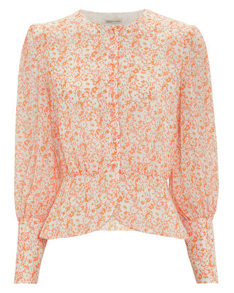 Peaches Floral Blouse, ORANGE FLORAL, hi-res