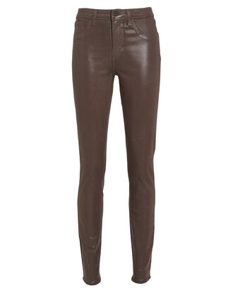 Marguerite High-Rise Coated Jeans, CHOCOLATE, hi-res
