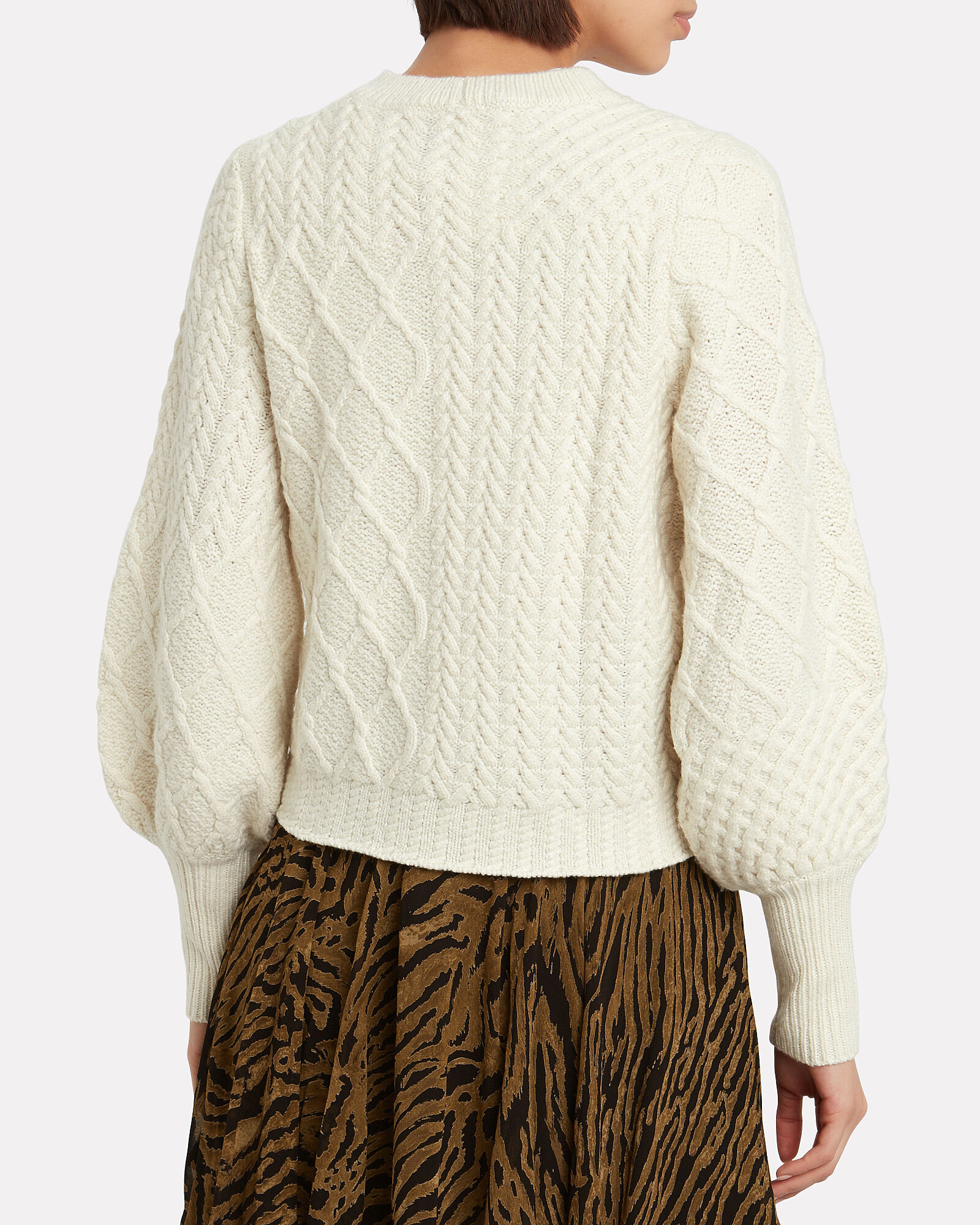 Patchwork Cable Knit Wool Sweater, WHITE, hi-res