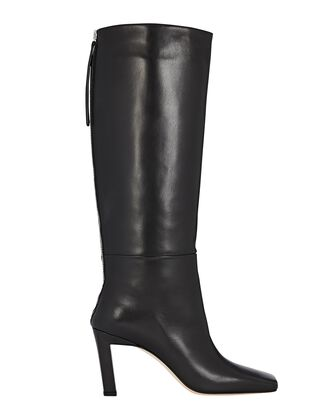 Isa Knee-High Leather Boots, BLACK, hi-res