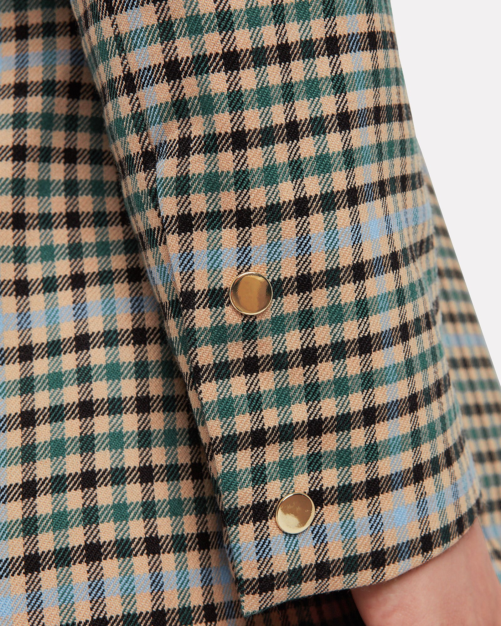 Gurli Contrast Checked Wool Blazer, GREEN/PINK CHECK, hi-res