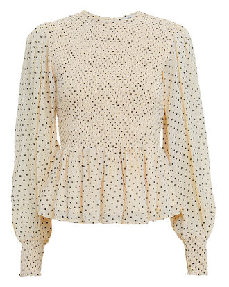 Printed Georgette Smocked Ivory Top, IVORY/BLACK POLKA DOT, hi-res