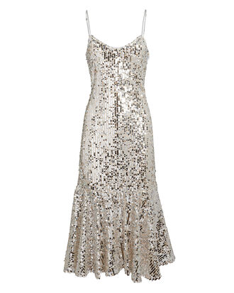 Mykola Sequin Slip Dress, SILVER, hi-res