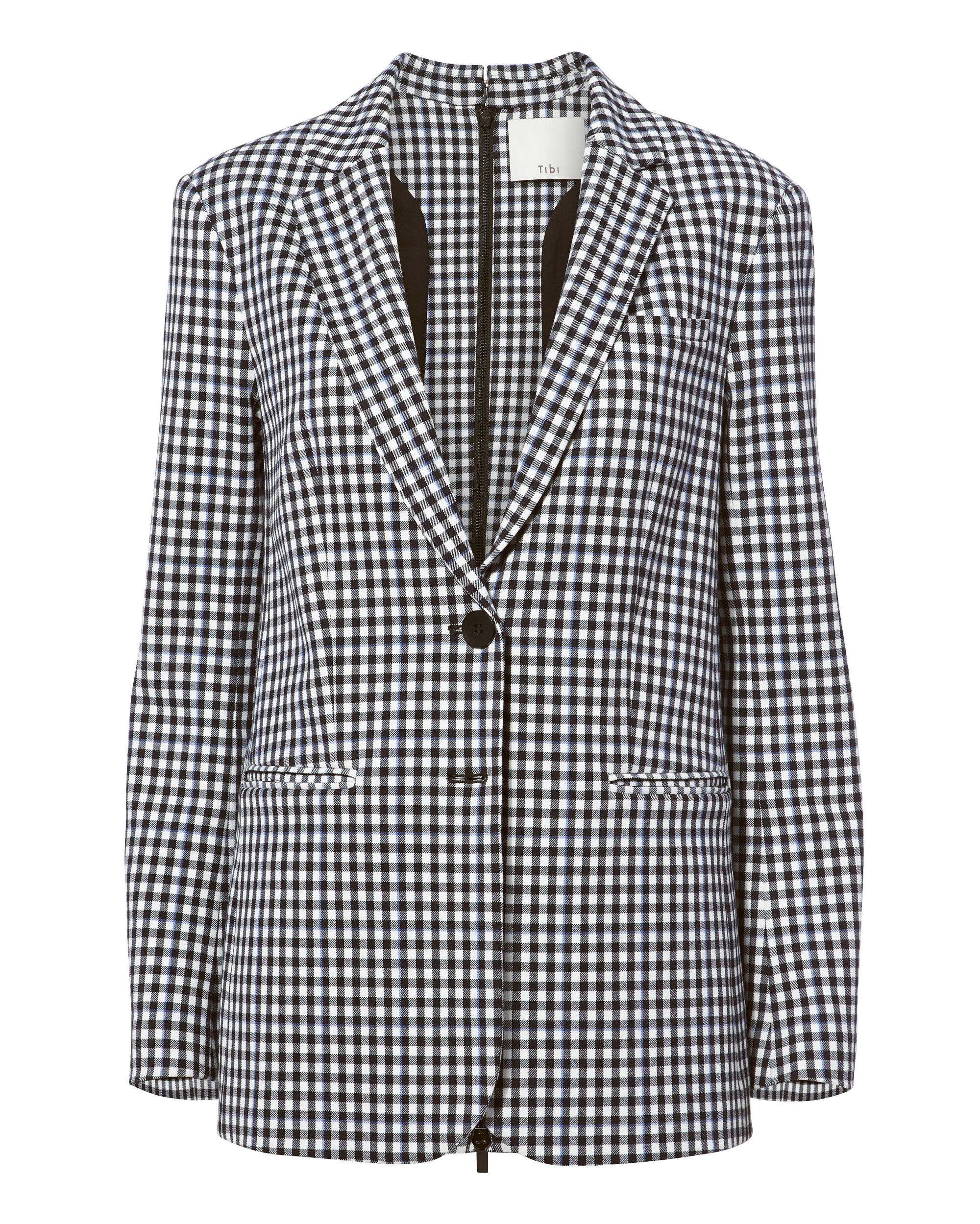 Gingham Men'S Blazer With Back Zip Detail, Black/White