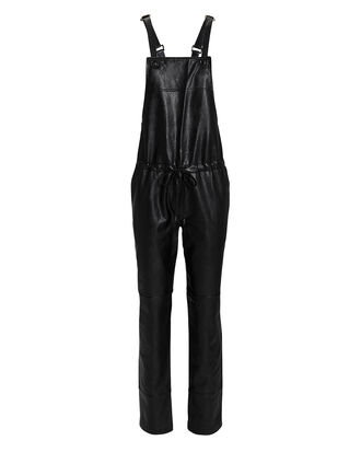 Vegan Leather Overalls, BLACK, hi-res