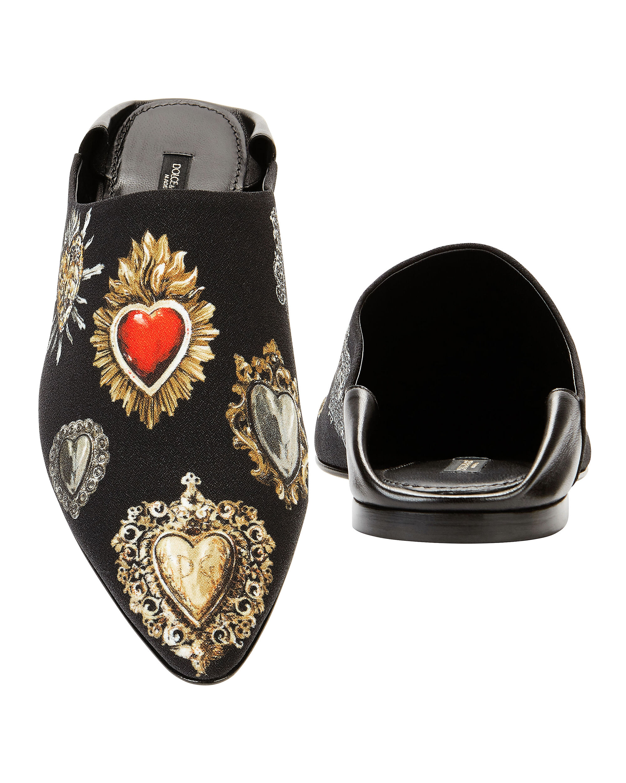 Sacred Heart Printed Slippers, BLACK, hi-res