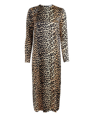 Leopard Silk Shift Dress, MULTI, hi-res