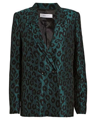 Madeleine Double-Breasted Jacquard Blazer, TEAL/BLACK, hi-res