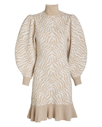 Joni Zebra Jacquard Knit Dress, IVORY/ZEBRA, hi-res