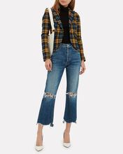 Plaid Elbow Patch Blazer, BLUE-MED, hi-res
