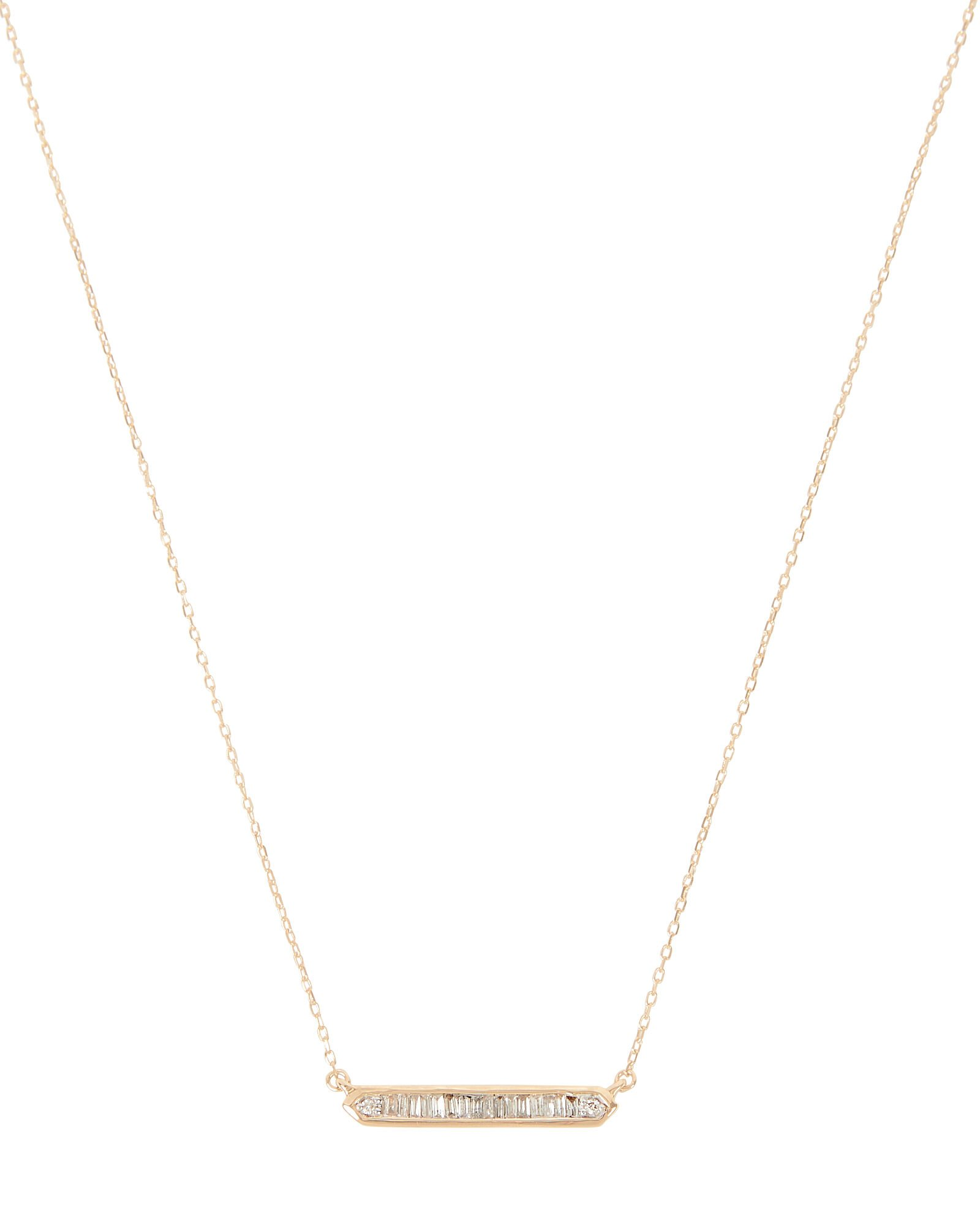 Diamond Baguette Bar Necklace, GOLD, hi-res