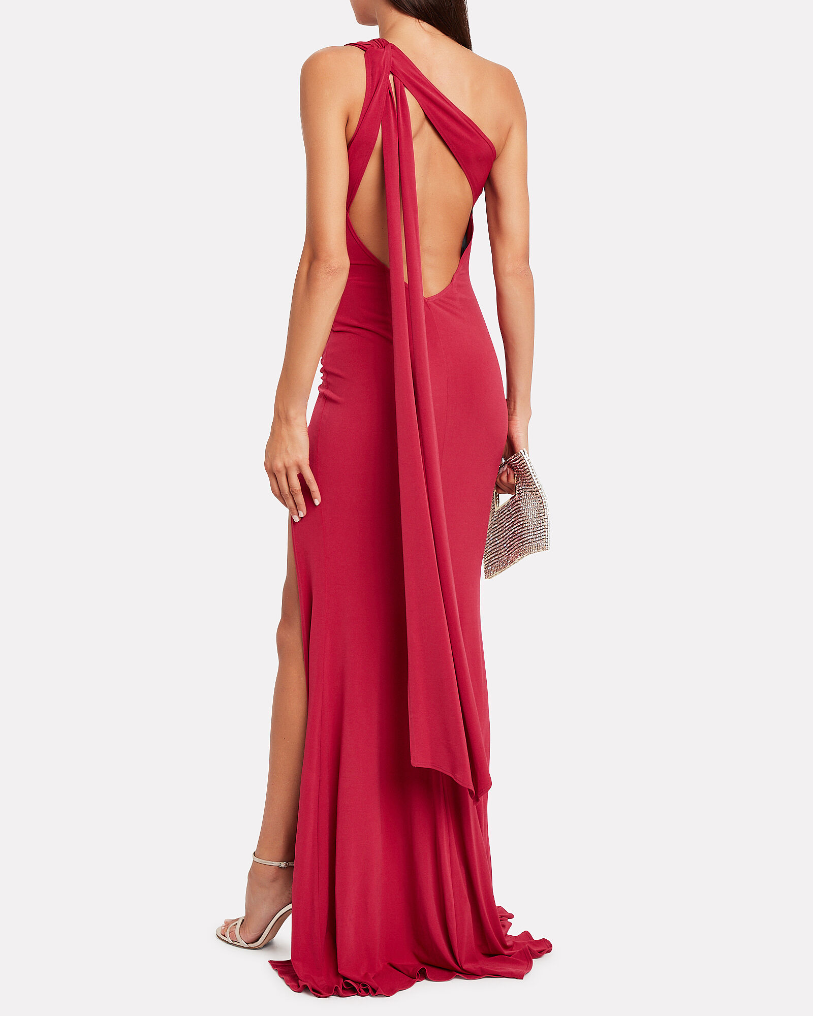 Attention Seeker One-Shoulder Gown, RED, hi-res