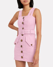 Twill Button Front Sleeveless Dress, PURPLE-LT, hi-res