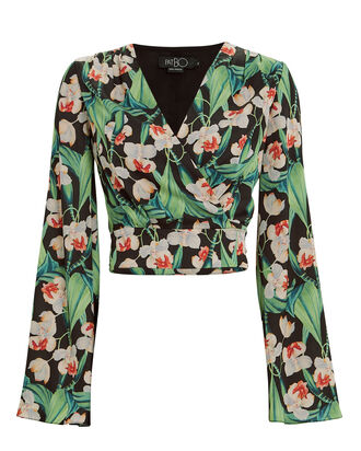Tropical Wrap Cropped Blouse, BLACK/FLORAL, hi-res