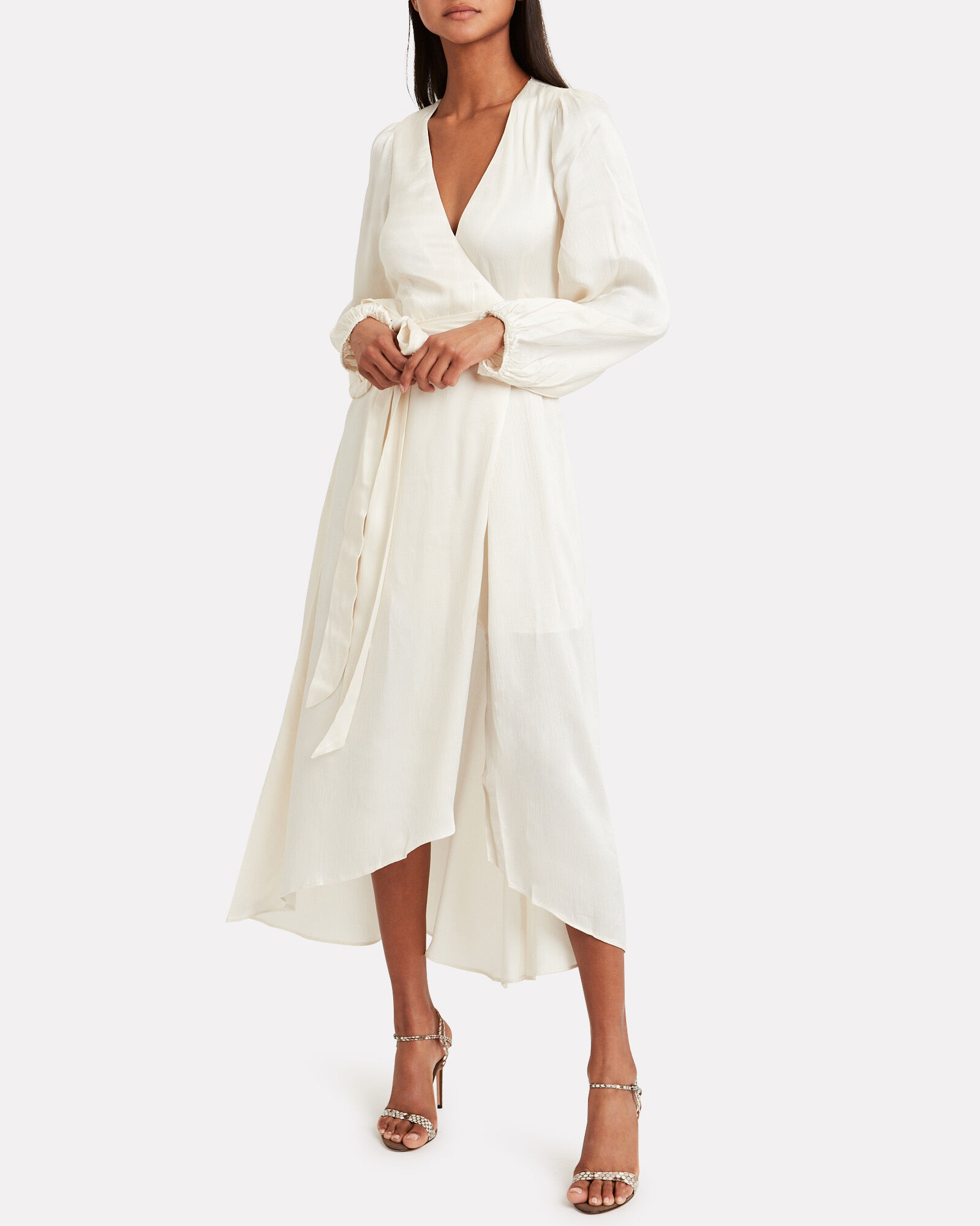 Elton Satin Wrap Dress, IVORY, hi-res