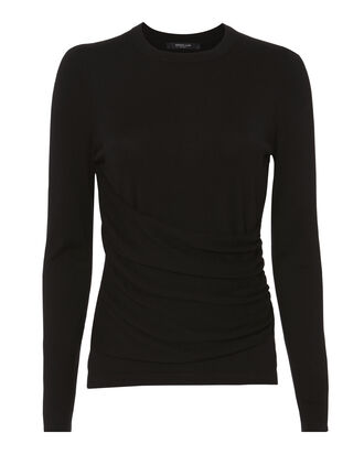 Gathered Front Silk-Cashmere Top, BLACK, hi-res