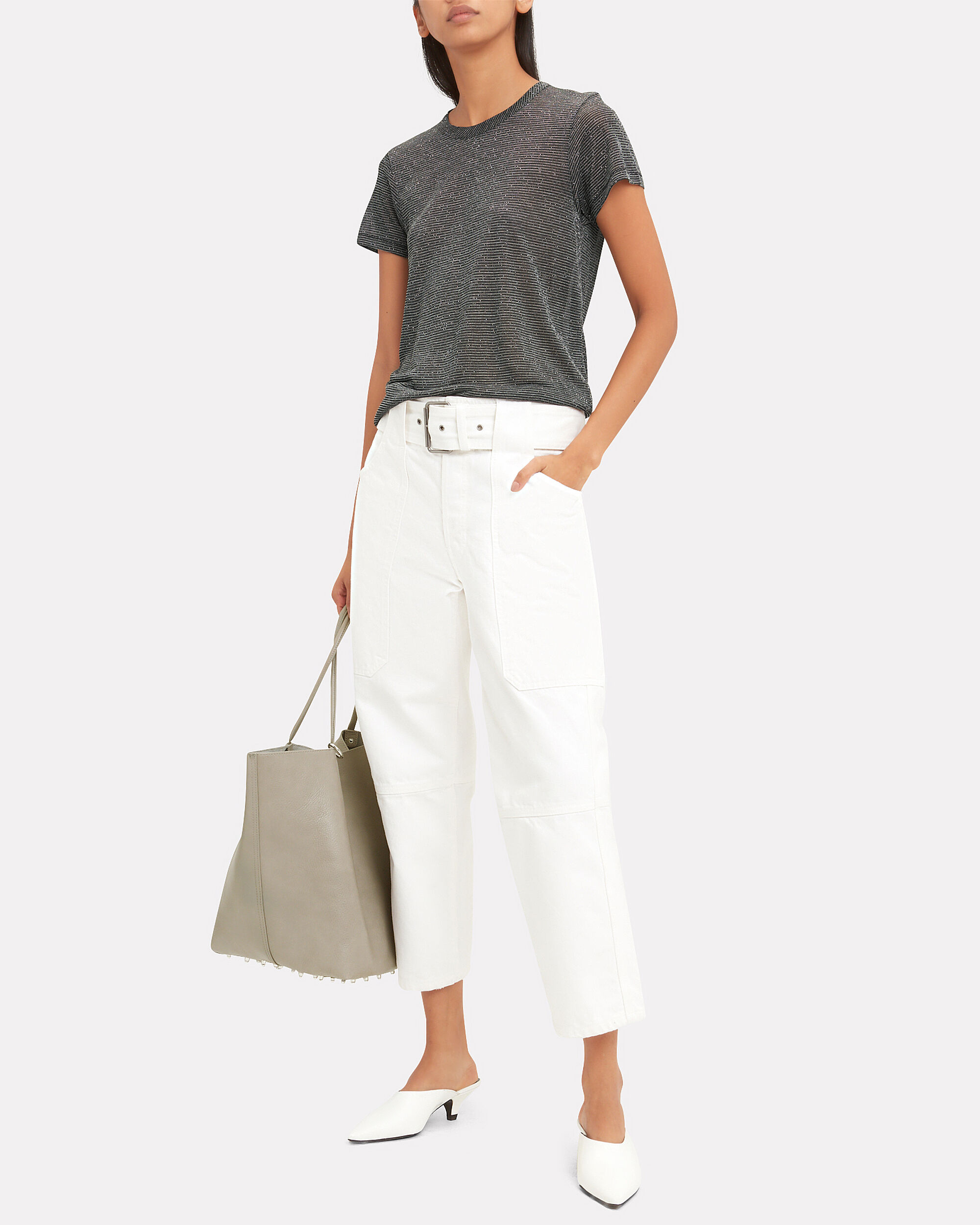 Roxy Small Grey Leather Tote, GREY, hi-res