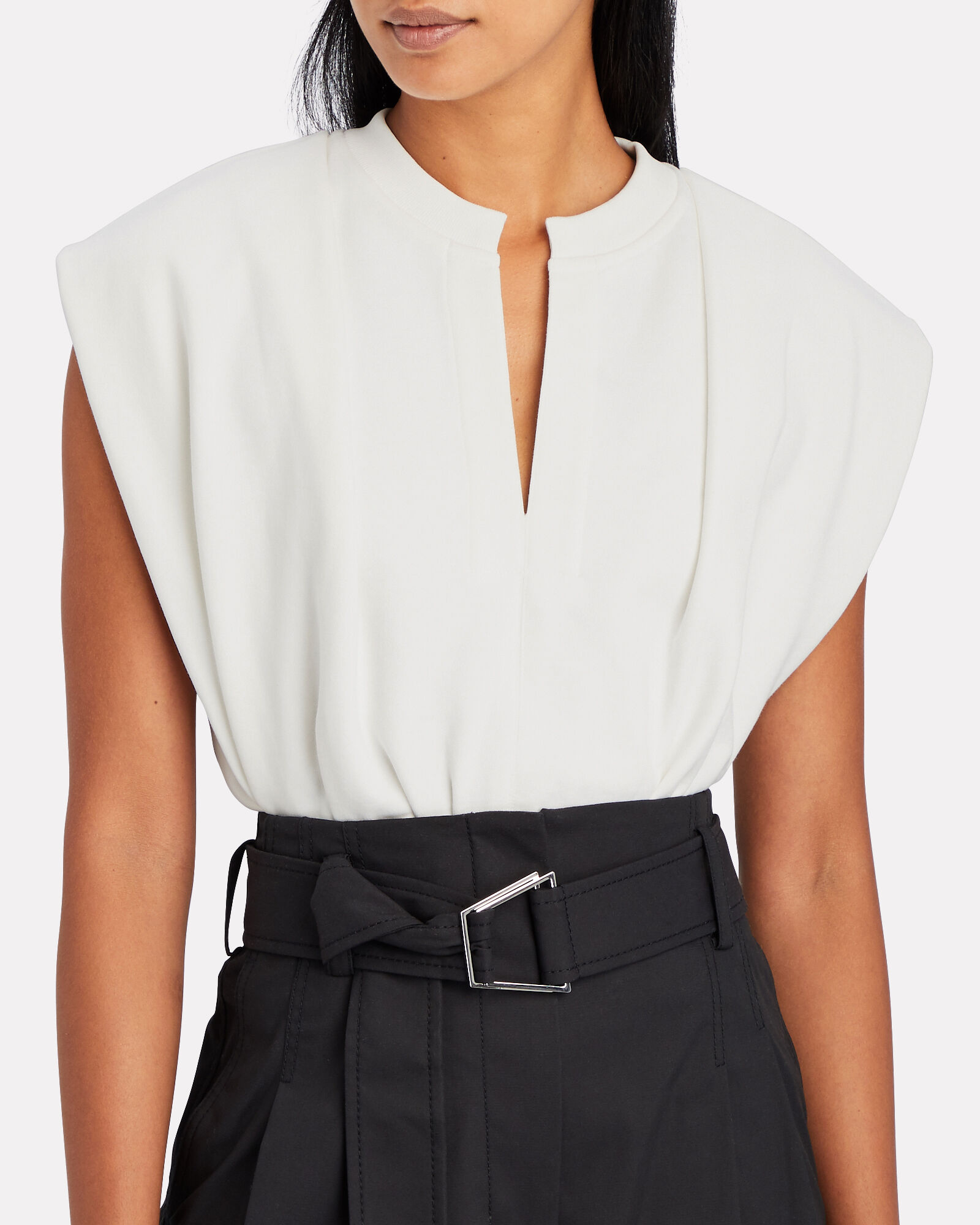 Padded Shoulder French Terry Top, , hi-res