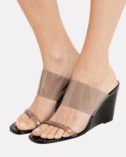 Olympia Black Patent Leather Sandals, SMOKE/BLACK, hi-res