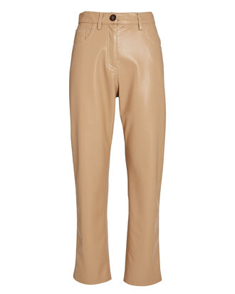 Ivy Vegan Leather Trousers, CARAMEL, hi-res
