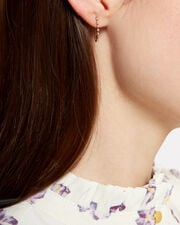 Diamond Stud Safety Pin Single Earring, GOLD, hi-res