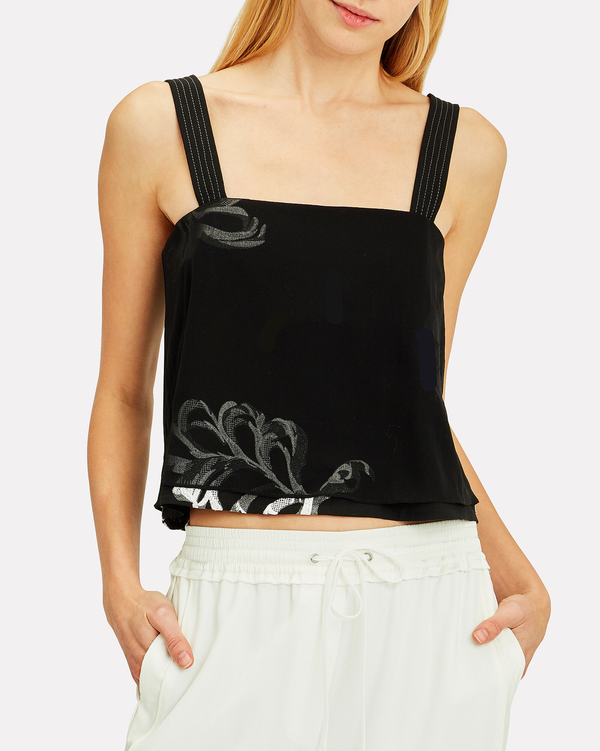 Embroidered Silk Overlay Top, BLACK, hi-res