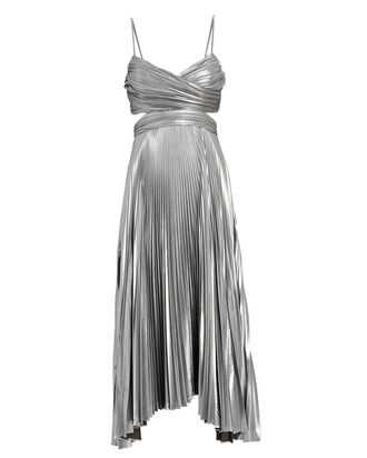 Pandora Pleated Metallic Midi Dress, SILVER, hi-res